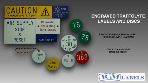 Engraved Traffolyte Labels, Tags and Discs