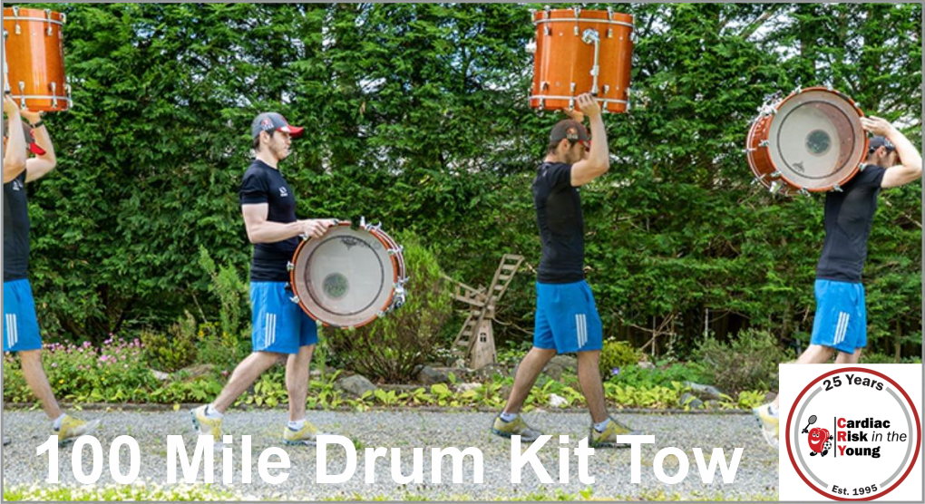 Our Son Is Amazing!! Bob Thomas 100 Mile Drum Kit Tow for CRY (Cardiac Risk in the Young) Thursday, 22nd - Saturday, 24th July 2021 - Cardiff to Pembrokeshire